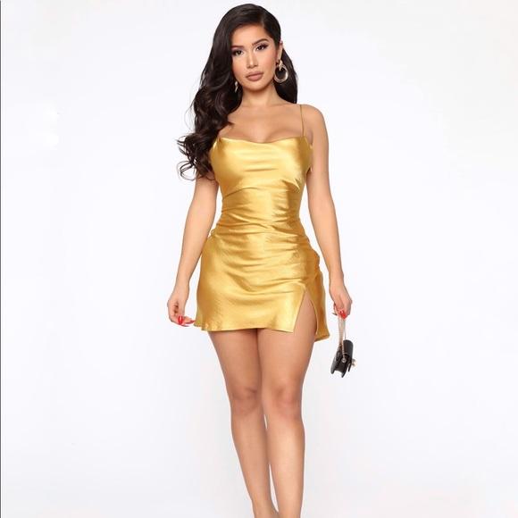 Mustard Satin Dress